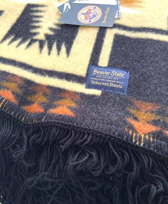 Beaver State Wool Fringe Blanket