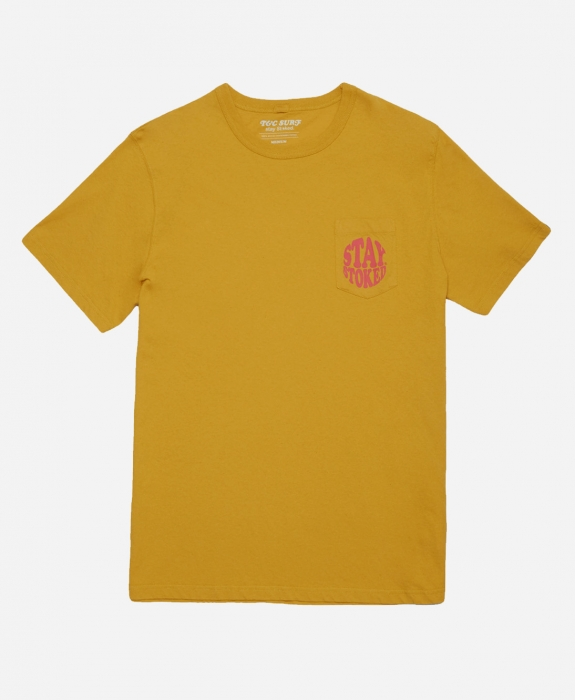 Town & Country Surfboards - Stay Stoked Pocket Tee Mustard