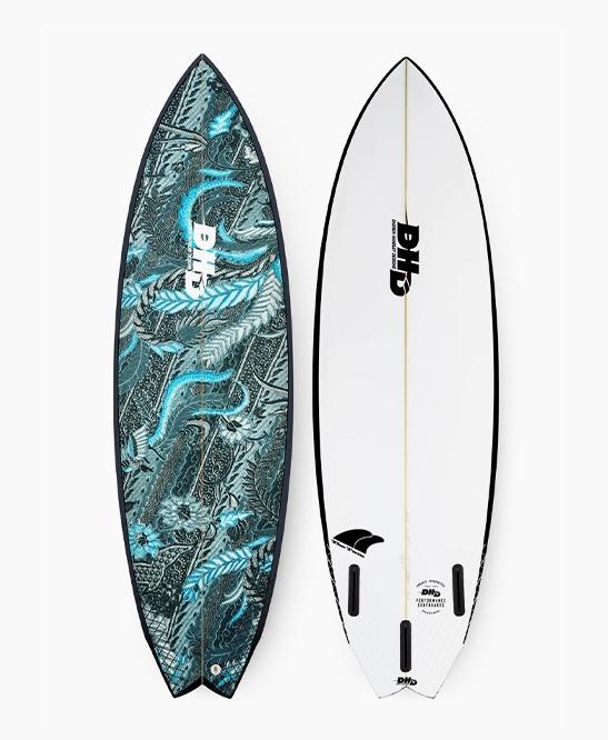 DHD Surfboards - Twin Fin 5'8 Blue Scarlett