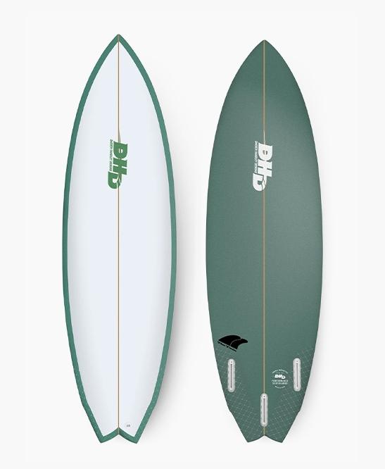 DHD Surfboards - Twin Fin 5'6 Green Safari